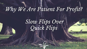 <center><b>Why We Are Patient For Profit: Slow Flips Over Quick Flips</b></center>